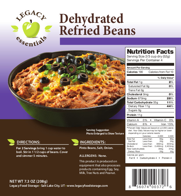 Dehydrated Refried Beans
